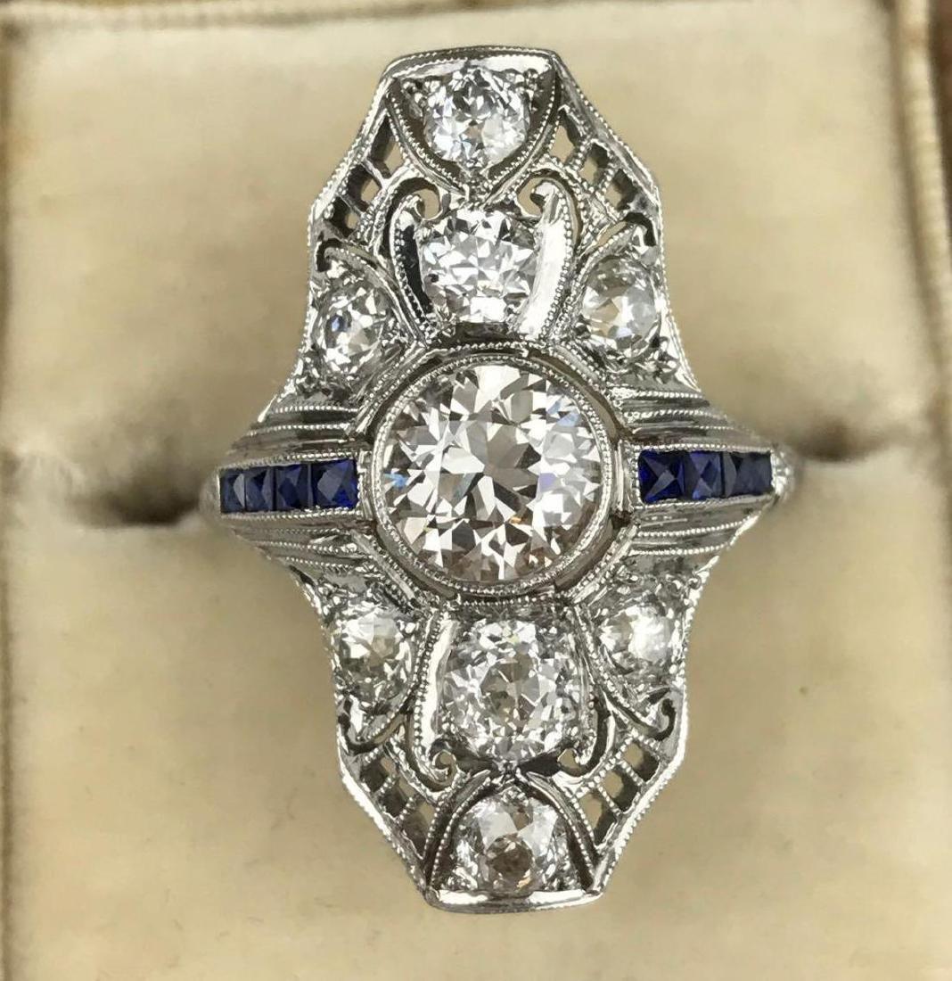 Platinum Filigree Art Deco, Diamond and Sapphire Ring