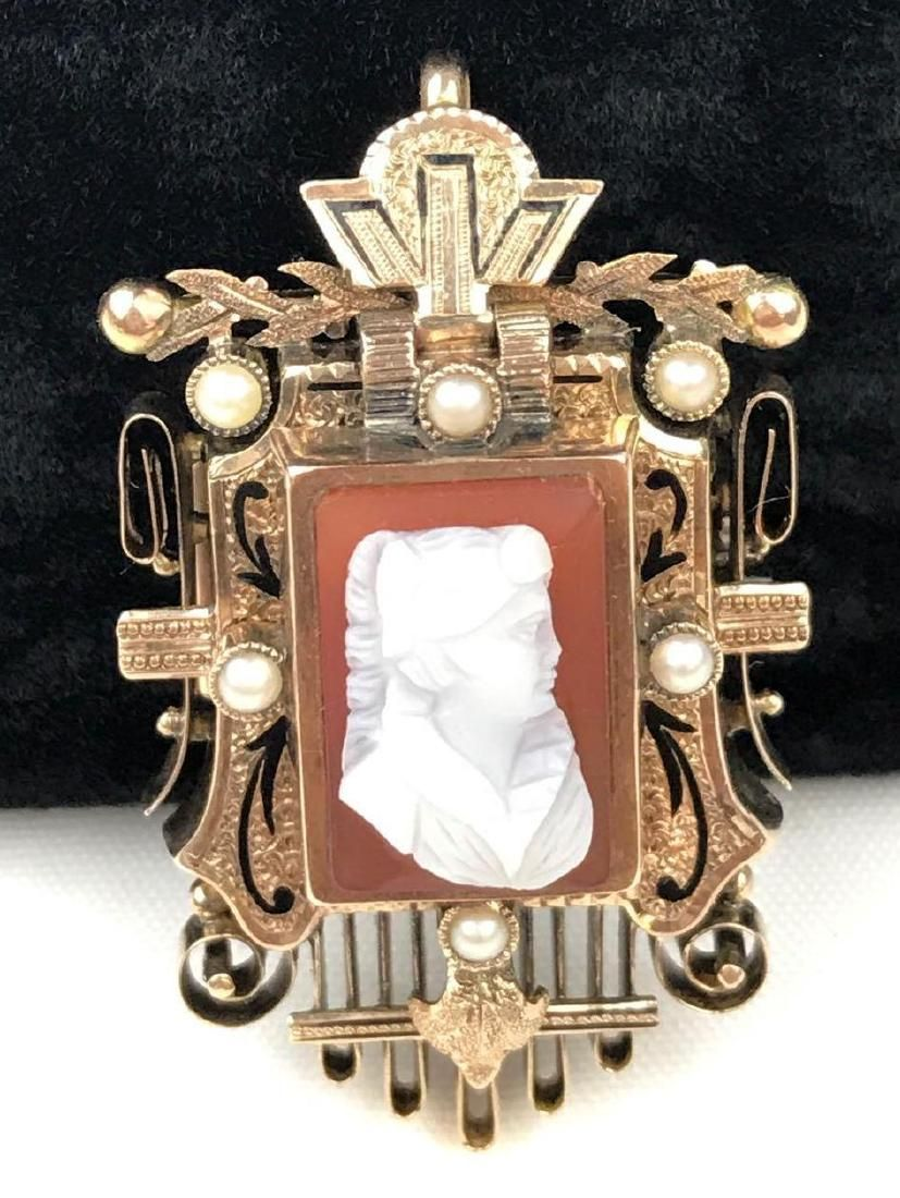 10K Yellow Gold Victorian Cameo Brooch Pin/Pendant