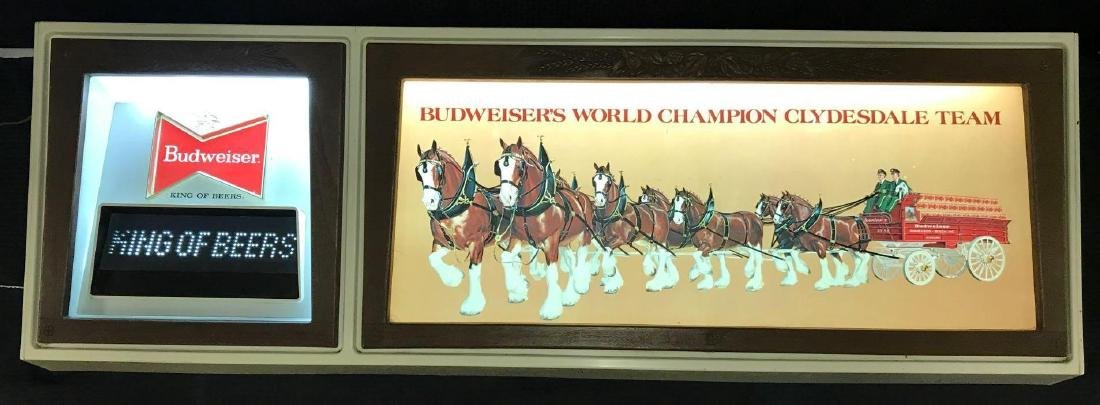 Budweiser Clydesdales Lighted Sign & Analog Display