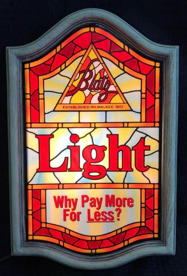 Blatz Light Beer Sign Stained Glass Look