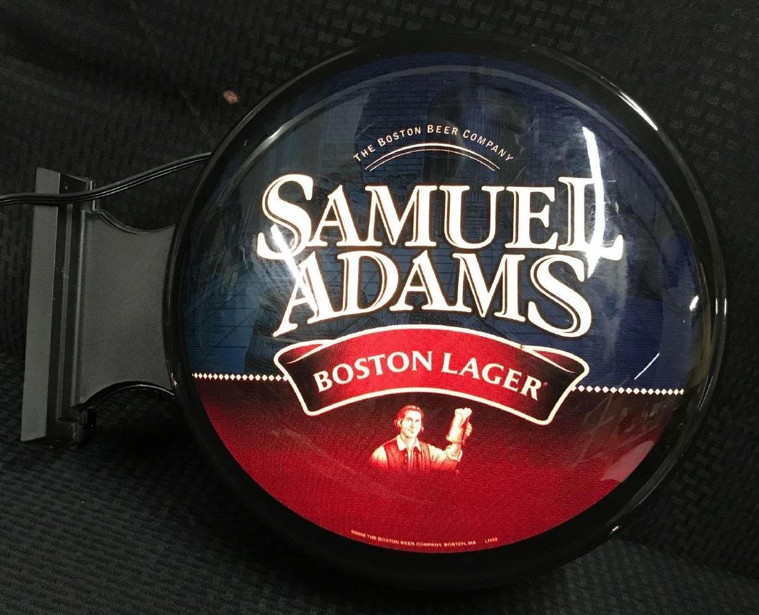 Samuel Adams 2 sided Round Beer Light Sign - 3