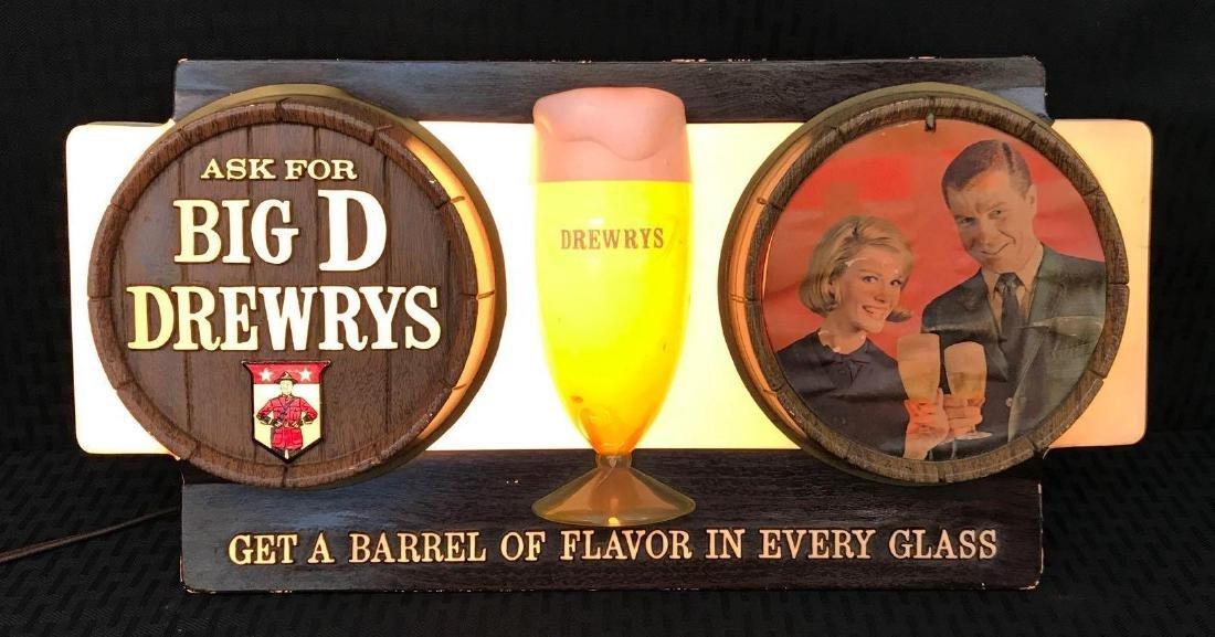 Big D Drewrys Beer Barrell Sign Light
