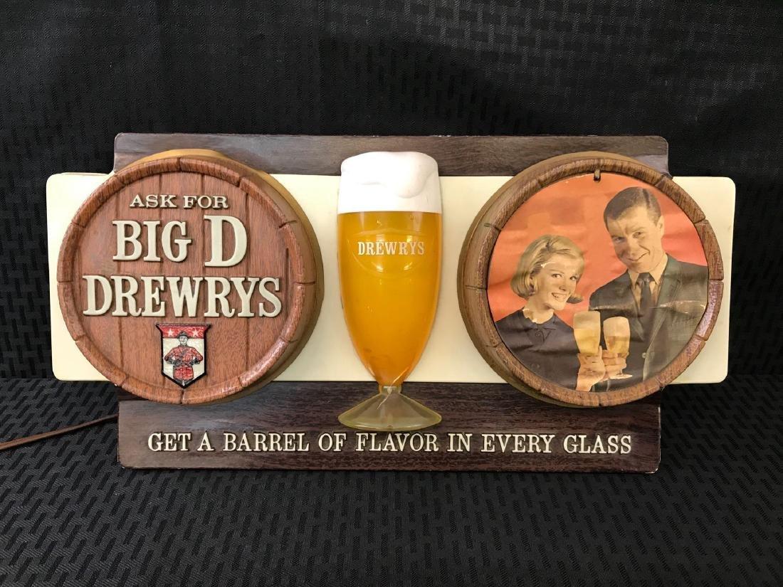 Big D Drewrys Beer Barrell Sign Light - 2
