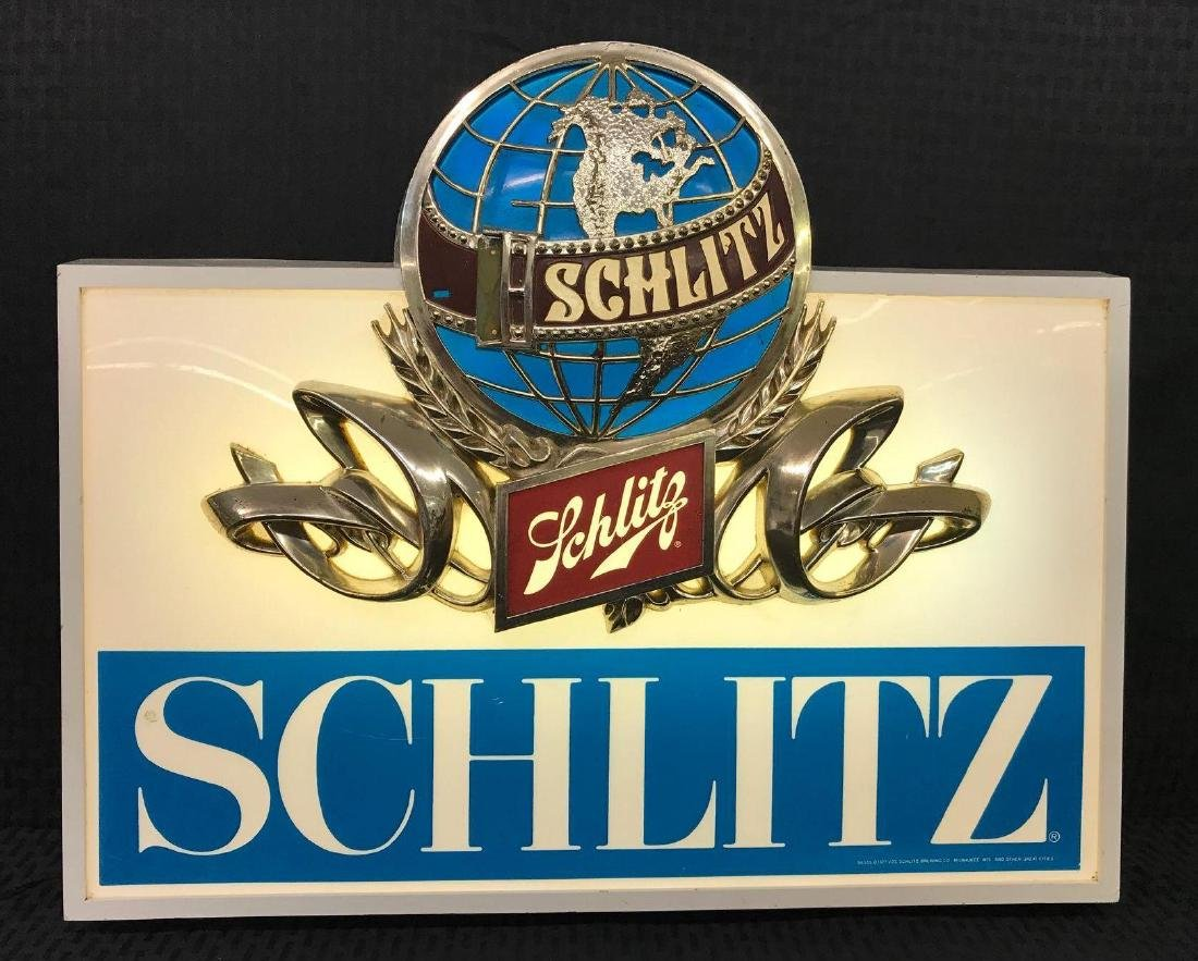 Schlitz Beer Light Sign with Globe Logo