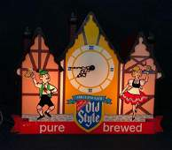 Old Style Beer Sign Clock Light