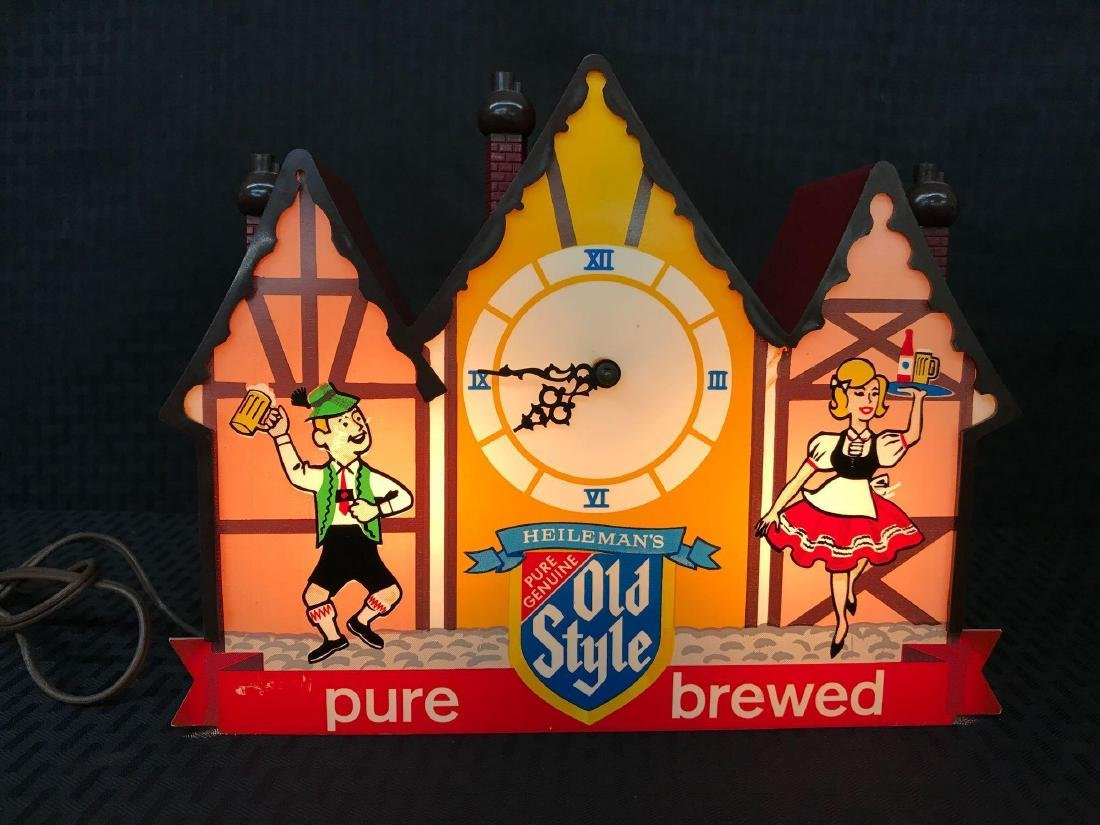 Old Style Beer Sign Clock Light - 2