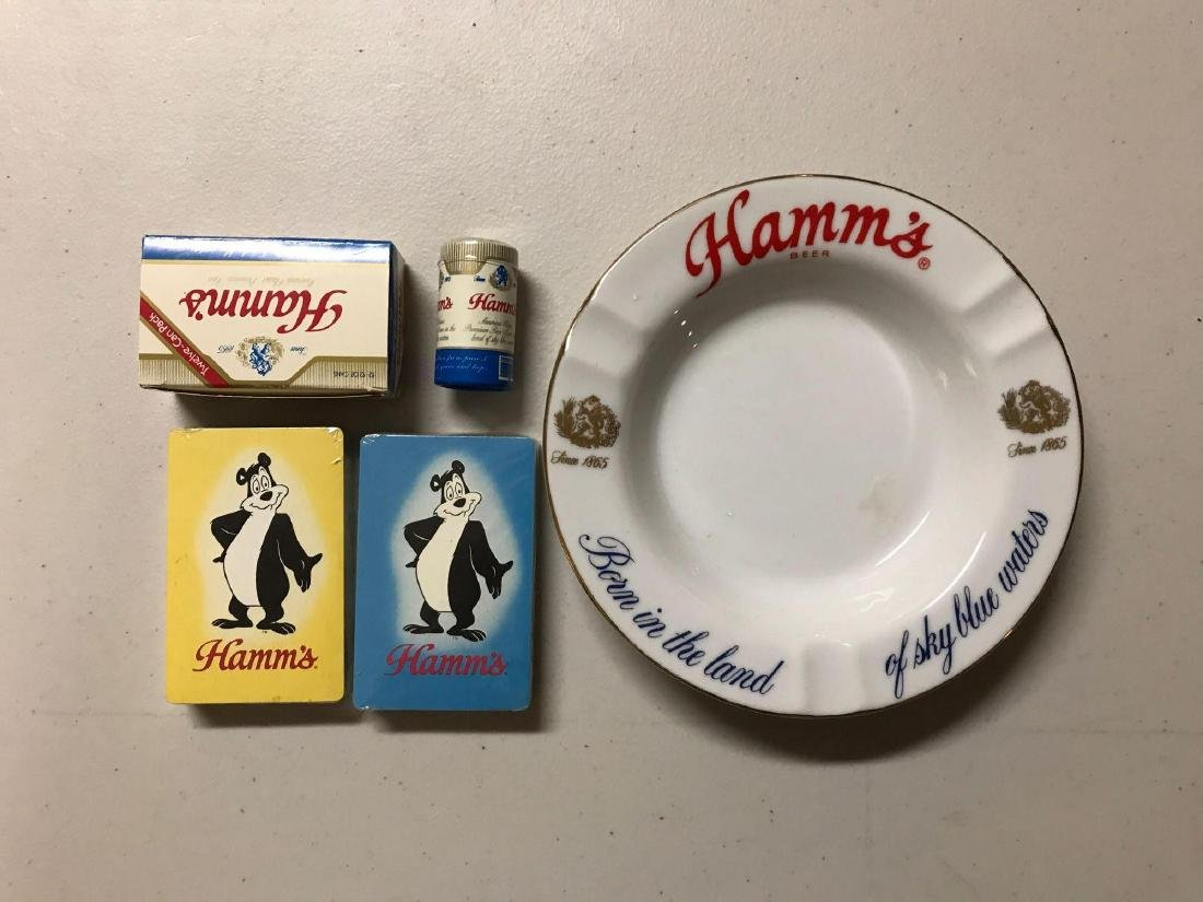 Group of vintage Hamm's playing cards, matches, and