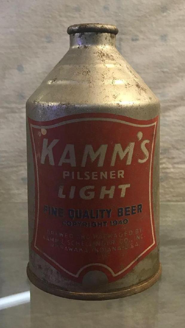 Circa 1940 Kamm's Beer Pilsner light cone top can