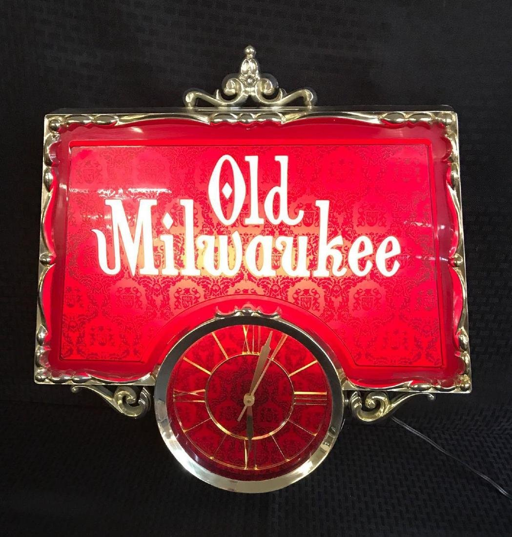 Old Milwaukee Beer Light Up Sign with Clock