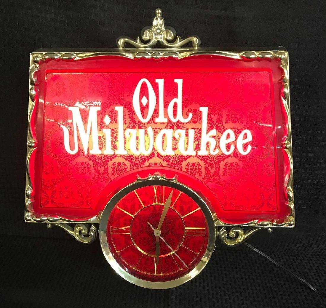 Old Milwaukee Beer Light Up Sign with Clock - 2