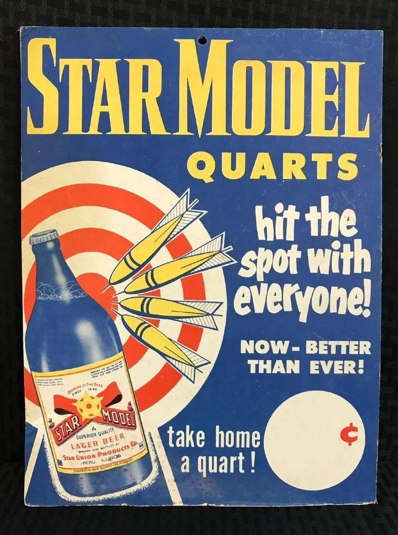 Star Model Beer Vintage Cardboard Sign