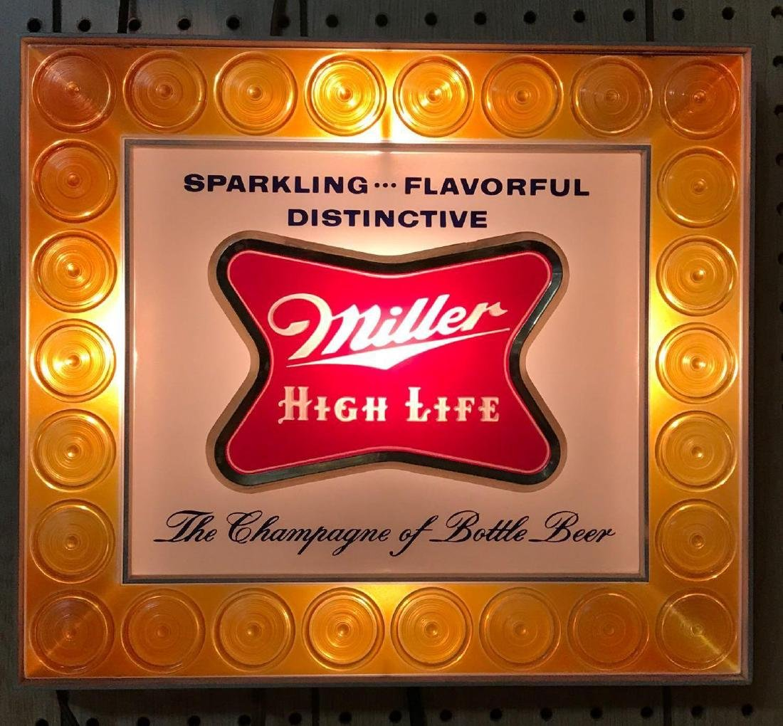 Miller High Life light up advertising beer sign