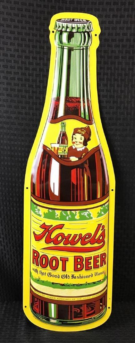 Howel's Root Beer Embossed Metal Bottle Shape Sign SST