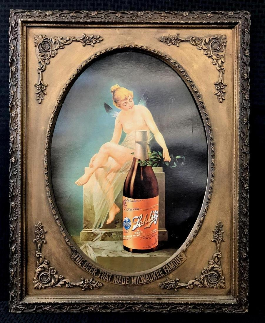 Schlitz Beer Sign Fairy Girl Litho in Frame Old
