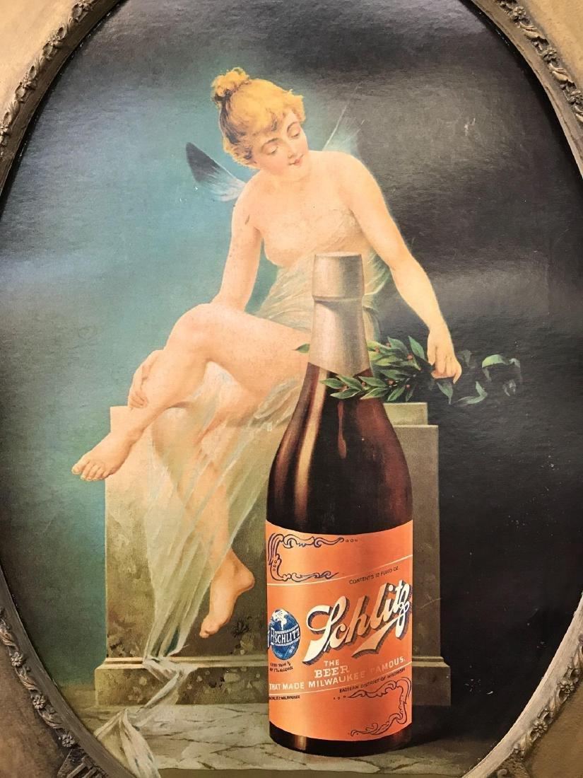 Schlitz Beer Sign Fairy Girl Litho in Frame Old - 2
