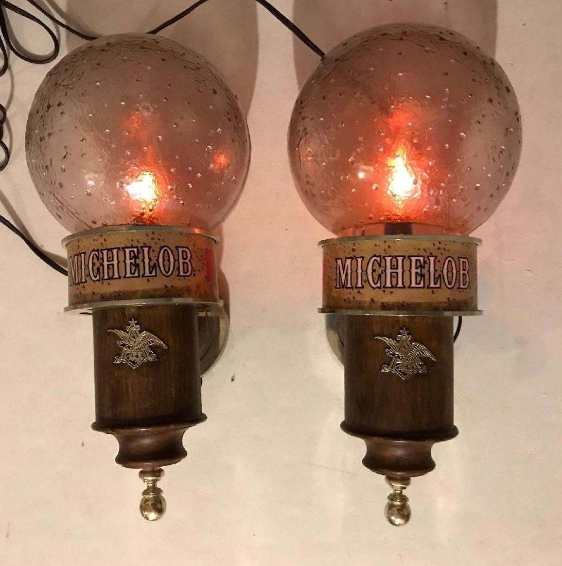 Vintage Michelob light up advertising beer sconces
