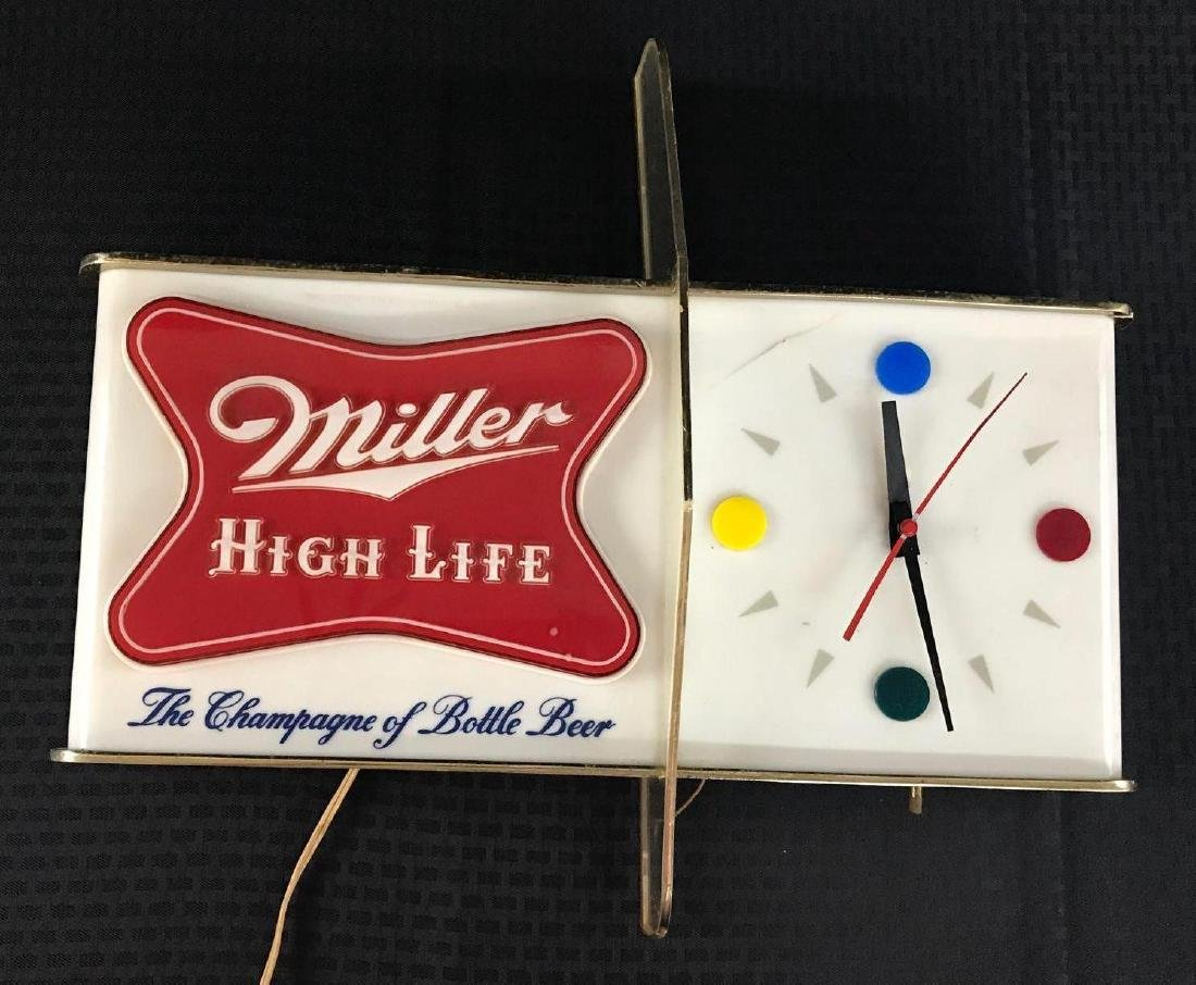 Miller High Life Beer Sign Light with Clock - 2