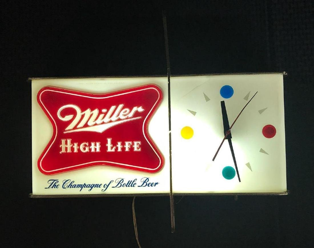 Miller High Life Beer Sign Light with Clock - 3