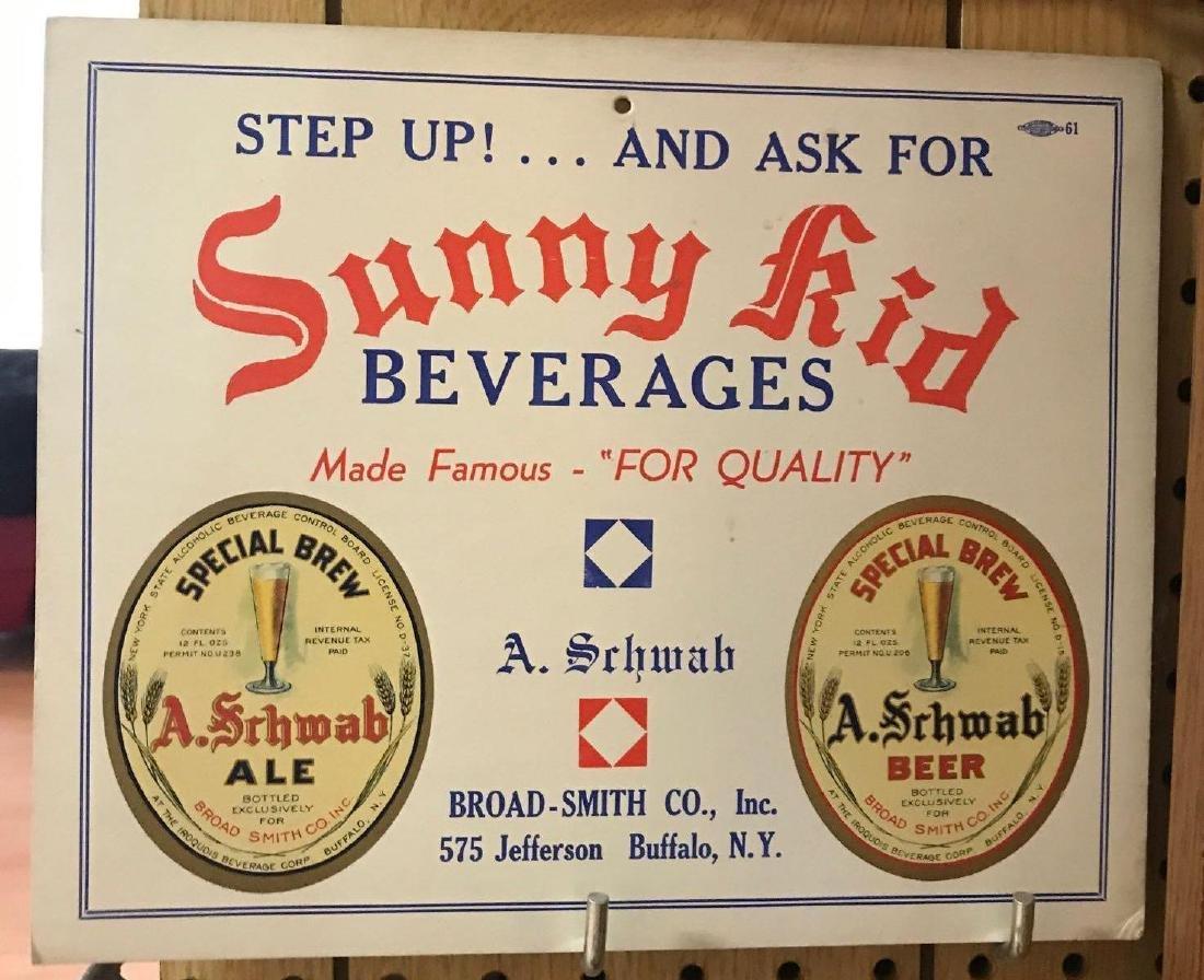 1961 Sunny Kid Beverages Cardboard Advertising Sign