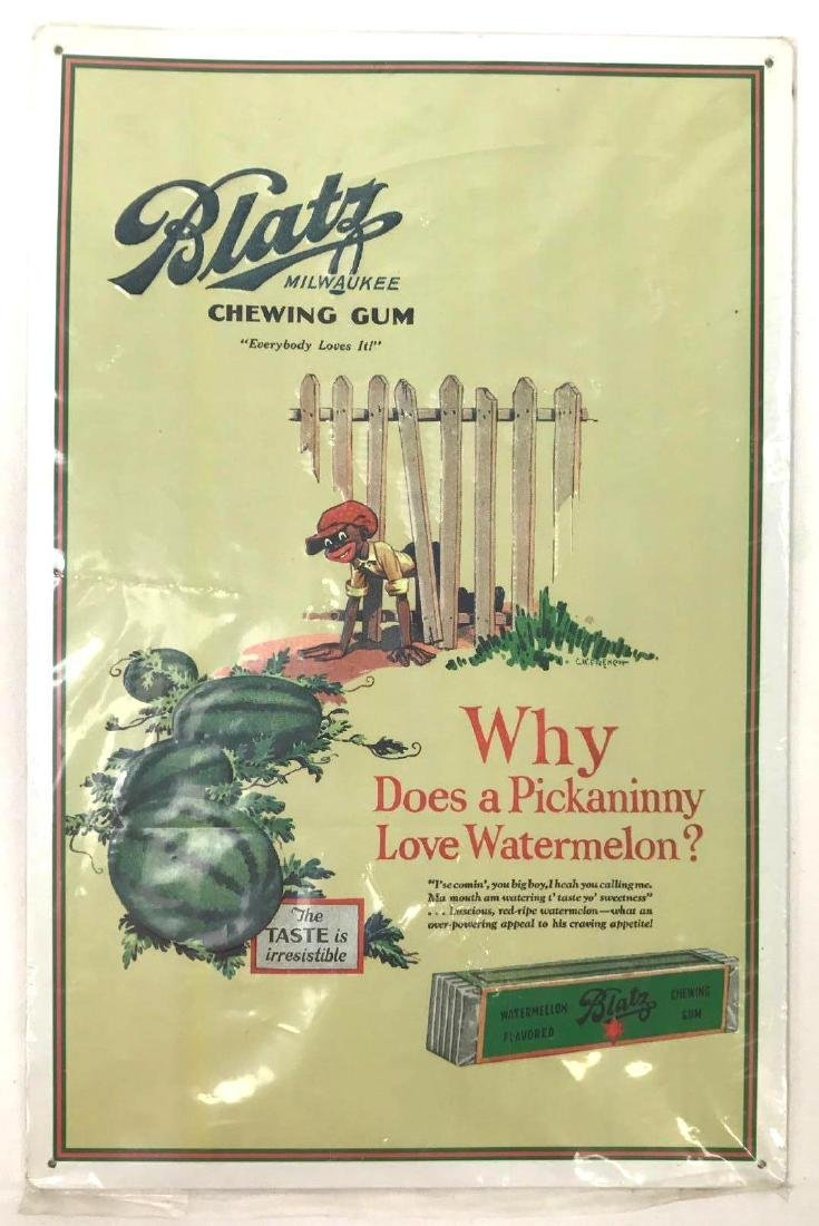 Blatz Watermelon Chewing Gum One Sided Tin Sign