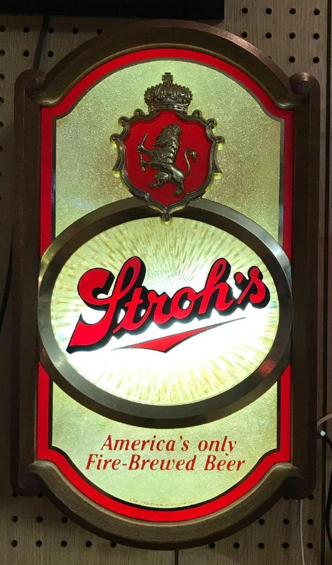 Stroh's Light Up Advertising Beer Sign