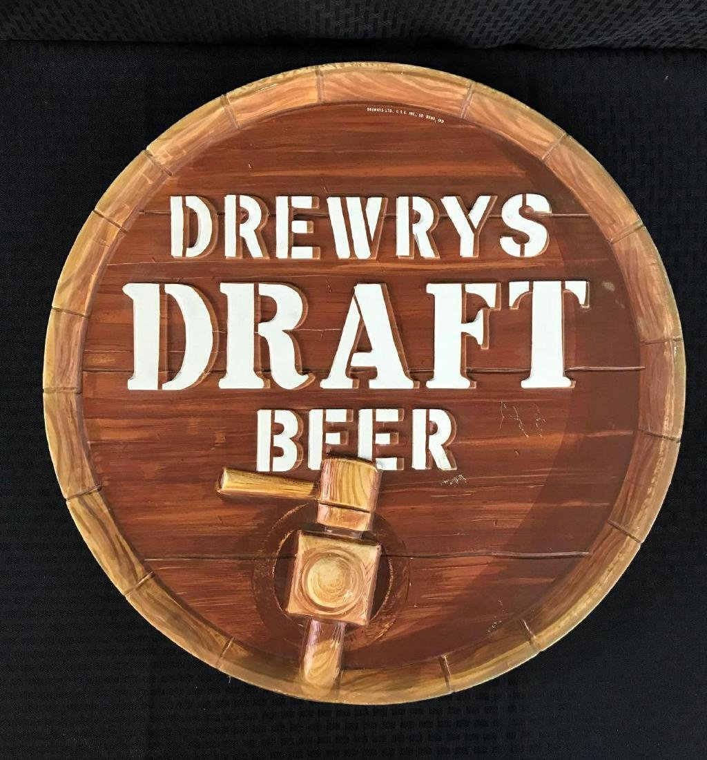 Drewrys Draft Beer Keg Bottom Sign