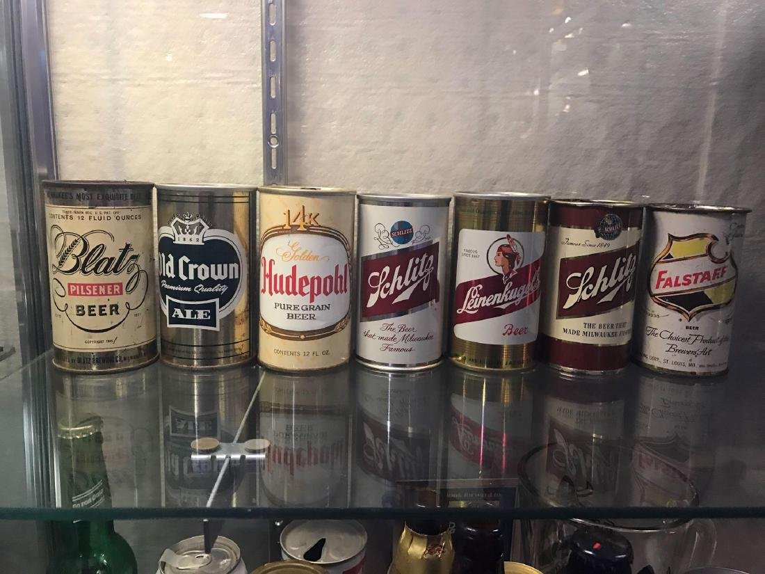 Group of Seven vintage beer cans