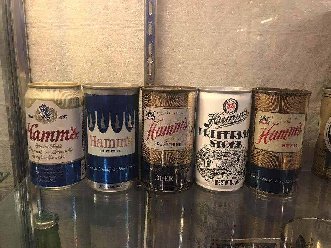 Group of five vintage Hamms beer cans