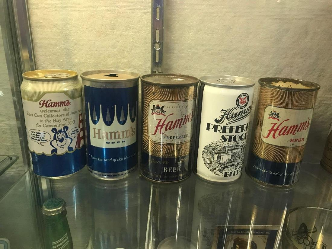 Group of five vintage Hamms beer cans - 3