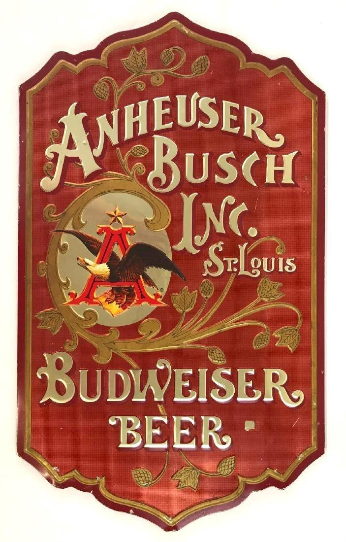 Budweiser Beer Embossed Tin Advertising Sign