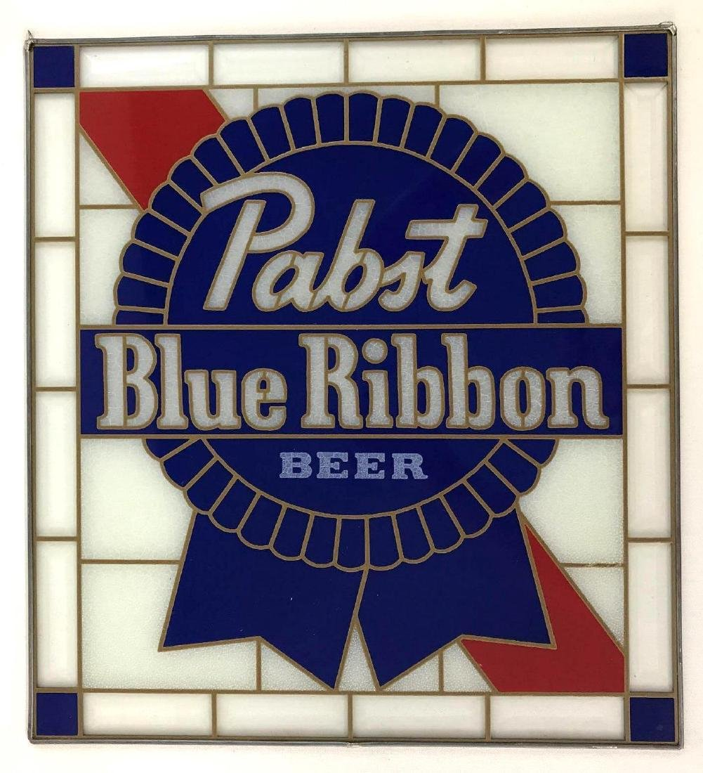Pabst Blue Ribbon Glass Beer Advertising Sign