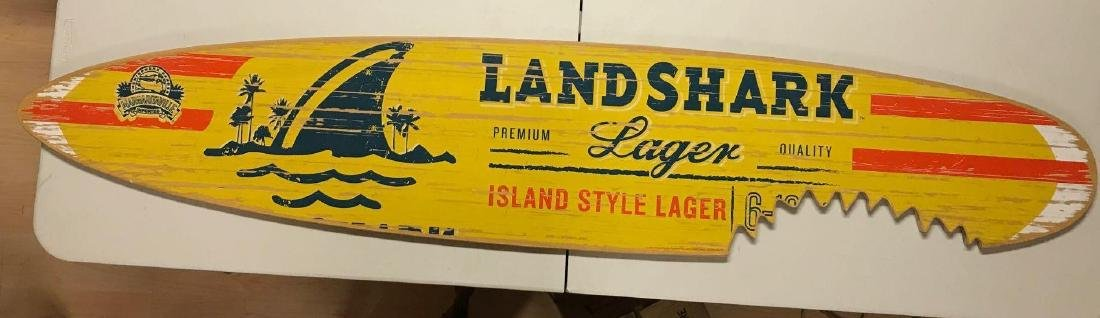 Land shark logger advertising wood surfboard sign - 2