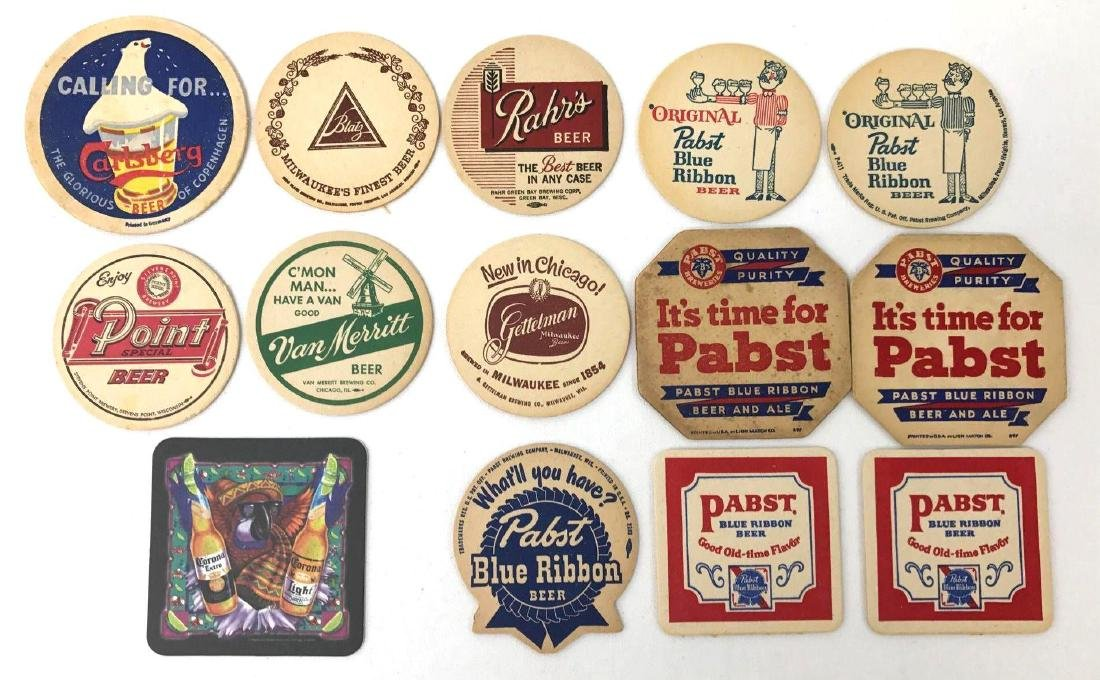 Group of 14 Vintage Advertising Beer Coasters Incl