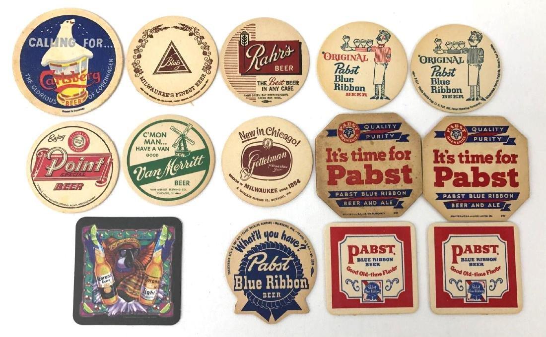 Group of 14 Vintage Advertising Beer Coasters Incl