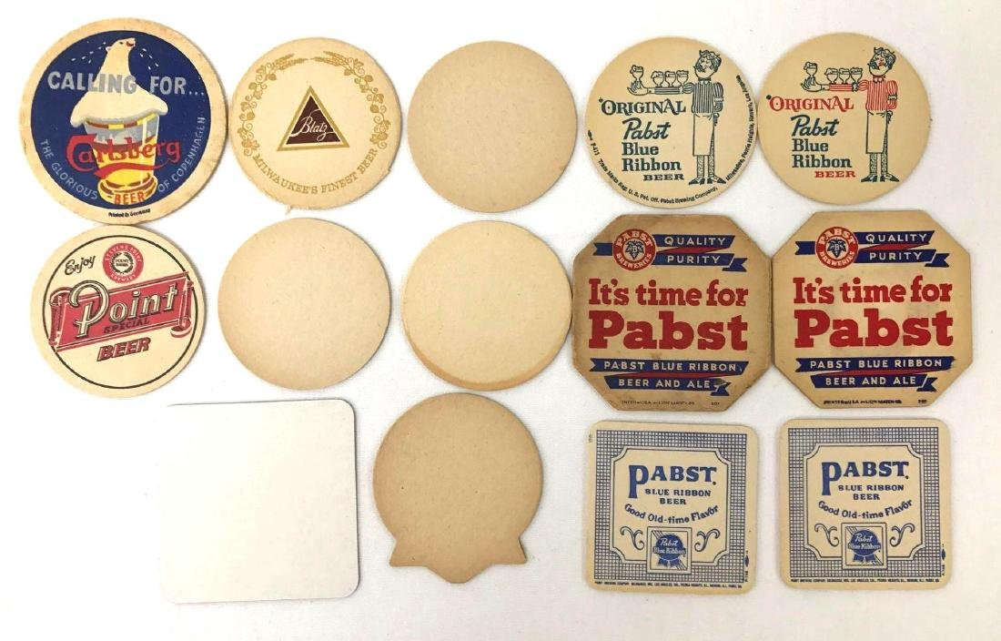 Group of 14 Vintage Advertising Beer Coasters Incl - 2