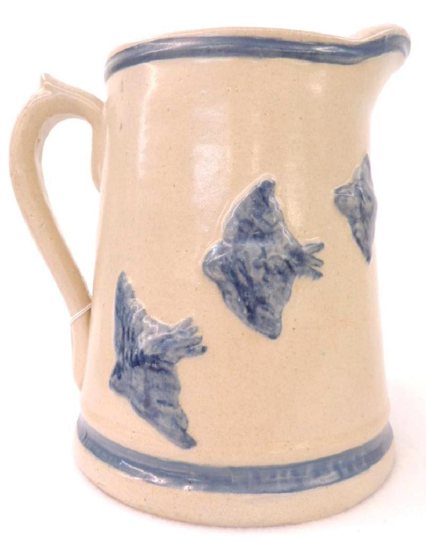 Blue Banded Stoneware Pitcher with Swallow Bird Relief