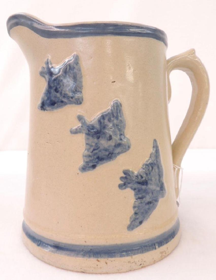 Blue Banded Stoneware Pitcher with Swallow Bird Relief - 2