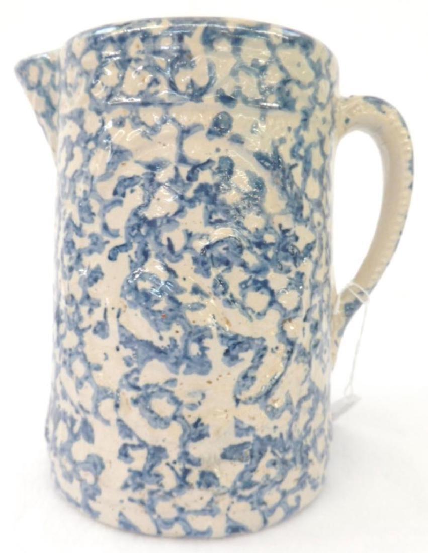 Swan Blue Spongeware Pitcher