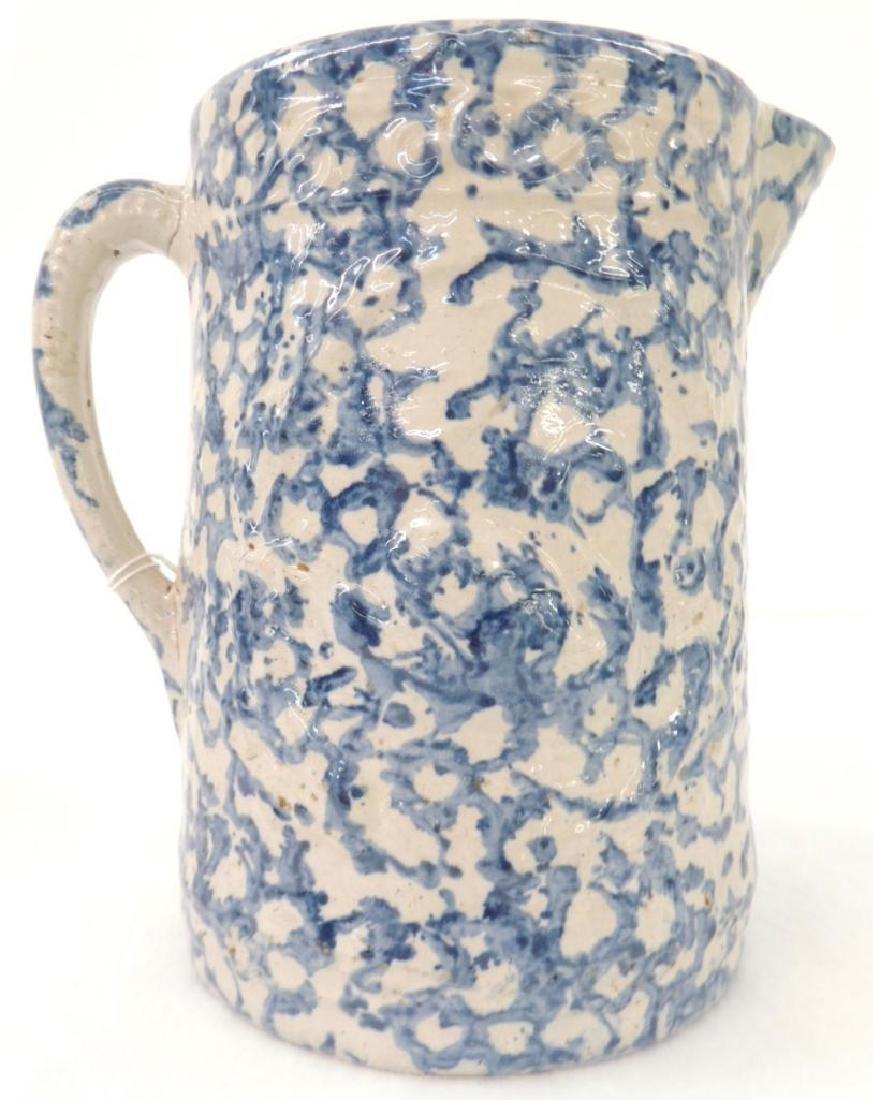 Swan Blue Spongeware Pitcher - 2