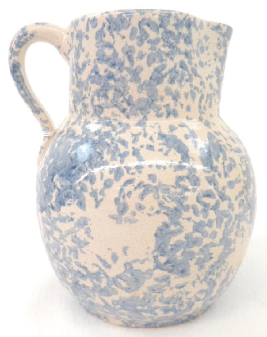 Blue Spongeware Milk Pitcher - 2