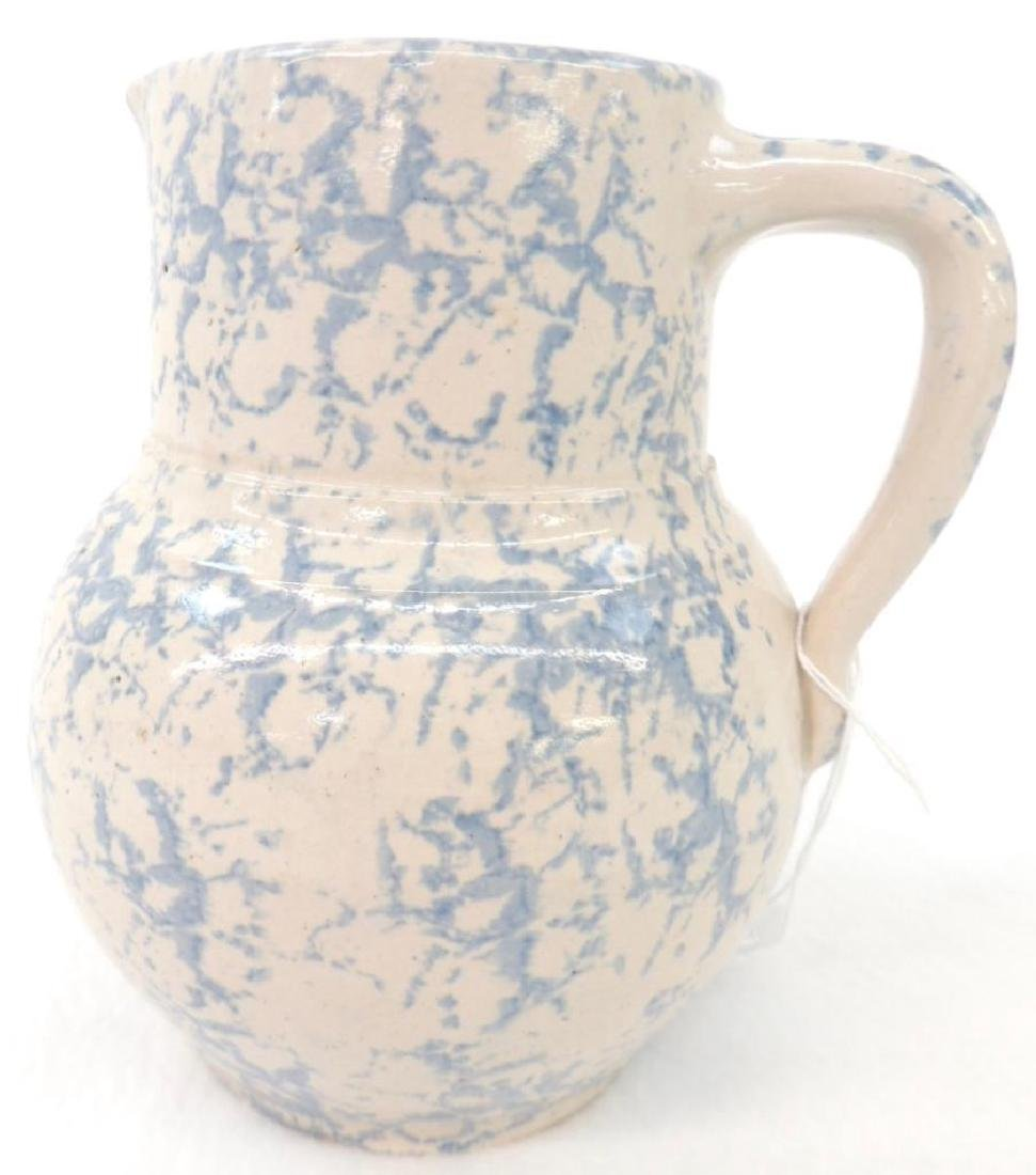 Light Blue Spongeware Cream Pitcher