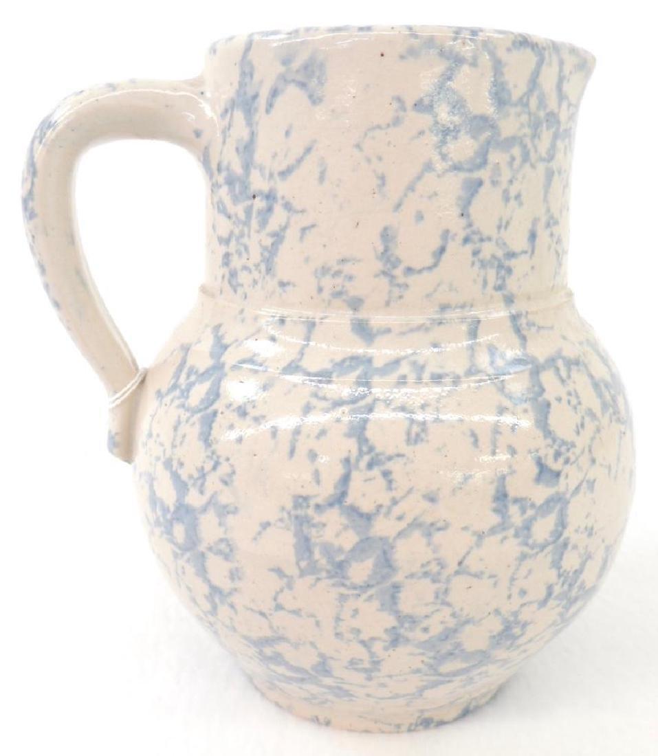 Light Blue Spongeware Cream Pitcher - 2