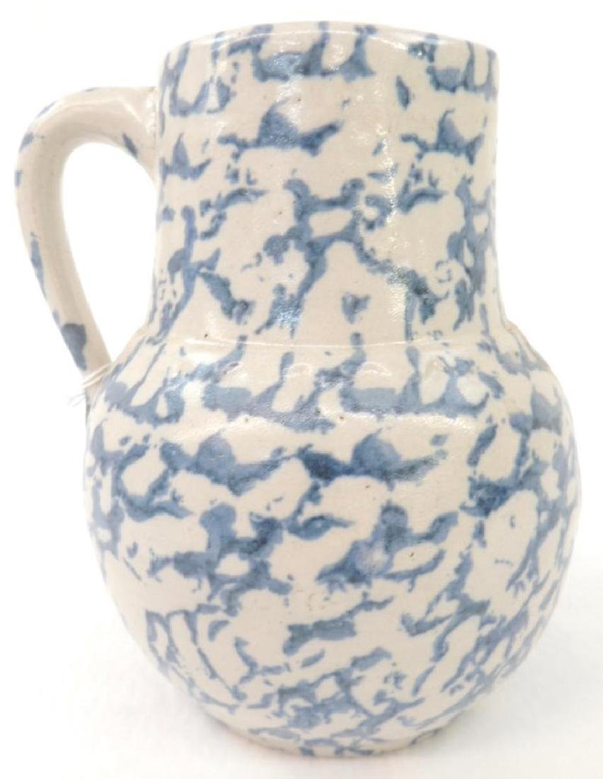 Blue Spongeware Cream Pitcher - 2