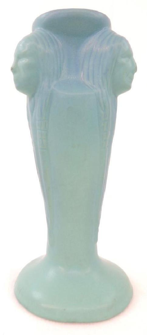 Van Briggle 3 Indian Head Vase - Aqua