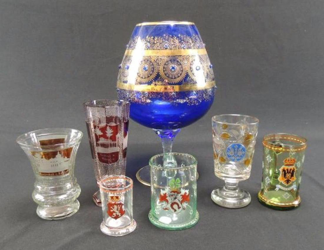 Seven pieces of Moser and bohemian glasses