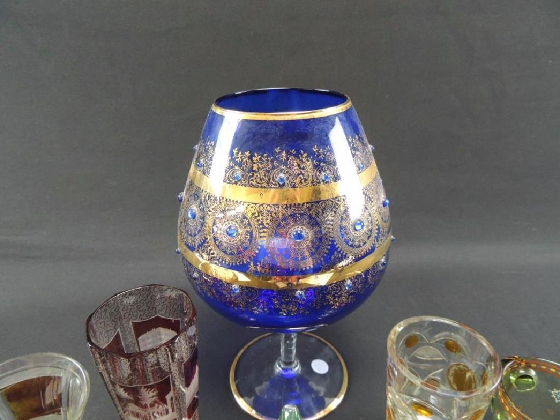 Seven pieces of Moser and bohemian glasses - 2