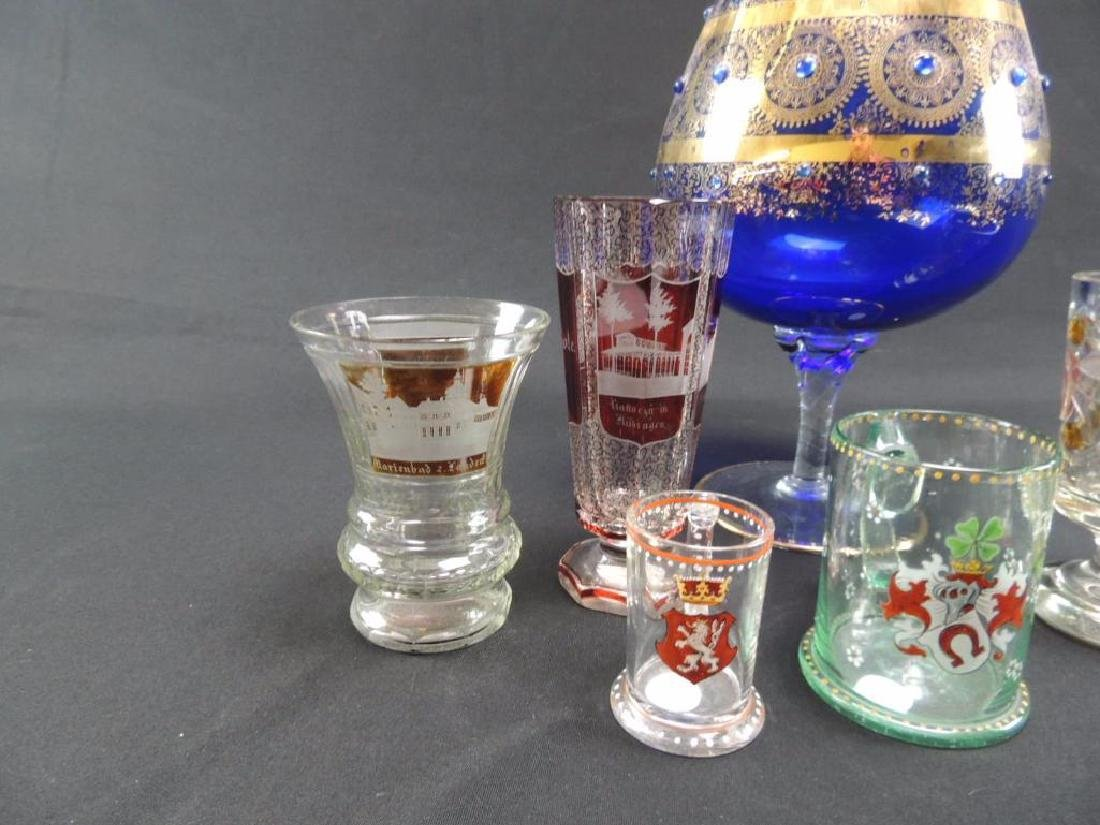 Seven pieces of Moser and bohemian glasses - 3