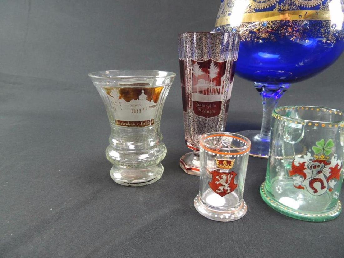 Seven pieces of Moser and bohemian glasses - 4