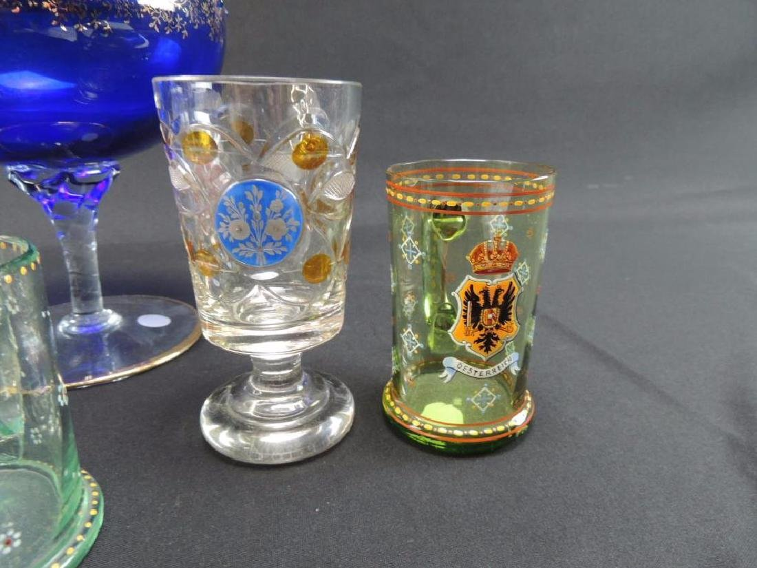 Seven pieces of Moser and bohemian glasses - 6