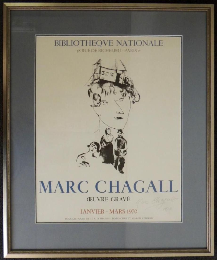 Framed 1970 Marc ChaGall Signed Exhibition Advertising